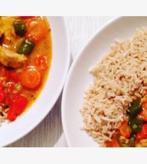 Rode curry met kip en paprika